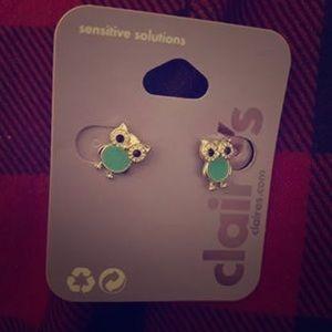 Diamond Owl Stud Earrings
